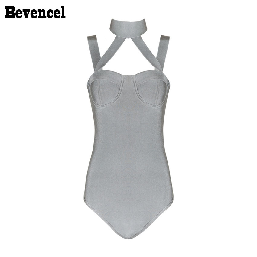 Bevencel 2017 Womens Seksi Bodycon Bodysuits Apar Sapanlar Backless Streç Ünlü Plaj Parti Bodysuits