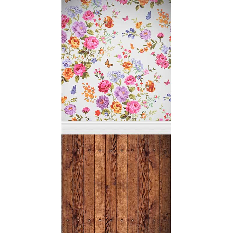 MEHOFOTO Vinyl Photography Backdrops Flowers and wood floors Computer printed Valentine&39;s Day and Wedding Backdrops F-1217